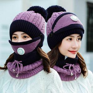 2020 New 3 Pieces Set Women's Knitted Hat Scarf Caps Neck Warmer Winter Hat for Ladies Girls Skullies Beanies Warm Bucket