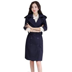 QPIPSD 2020 Весна Осень Новая Тонкая тонкая ветровка Женщины Длинный раздел Двухбортская Требовое пальто Ссолид Цветовая Мода Пальто