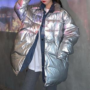 Winter frauen hip hop baumwatte gepolsterte jacke gefälschte zweiteilige denim nähen mantel glänzend oberfläche junge mode herbst beiläufig lose