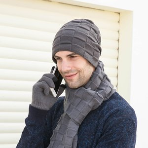 Winter Men Knit Beanie Hat with Neck Warmer Scarf Set 3-Piece Skull Cap Scarf with Fleece Lined with gloves WXY075