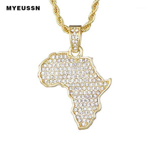 Africa Map Iced Out Chain Rhinestone Crystal Gold Silver Colour Pendant & Necklace Chain For Fashion Men Women Gift Jewelry1