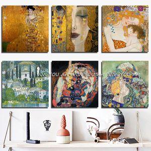 100% Handpainted Gustav Klimt Масло живопись настенным искусством Густав Климт Холст Картина Настенные Фотографии для гостиной Украшение дома Z1202