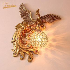 European Living Room Wall Lamp Peacock TV Background Wall Sconce Creative Stairs Aisle Bedside Lamp Phoenix Light Fixture
