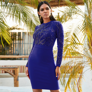Adyce 2020 New Winter Sequin Blue Bodycon Bandage Dress Sexy Hollow Out Long Sleeve Club Celebrity Evening Party Dress Vestidos A1111