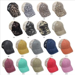 Baseball Caps Ponytail Ball Hat Mesh leopard Print Baseball Hat Women Sunflower Outdoor Sport Sun Protection Girls Cap HWB3410