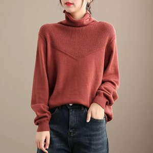 Winter Women Sweater Thicker Knitting Loose All-match Tops Women New Turtleneck Vintage Sweater Tops