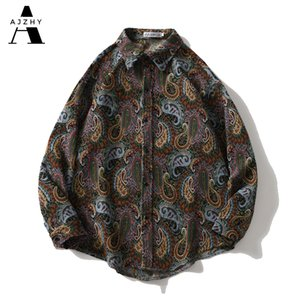 Vestes de chemise Vintage Ajzhy Mens à manches longues Bouton à manches longues étouffantes oversize hiver manteau chaleureux casual mode harajuku hip hop vêtements c1212