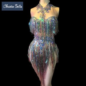 Christia Bella Bling Bling Rhinestone Bodysuit Women Stage Costumes Nightclub Tassel Jumpsuit Sexy Singer Outfits Performance Q1117