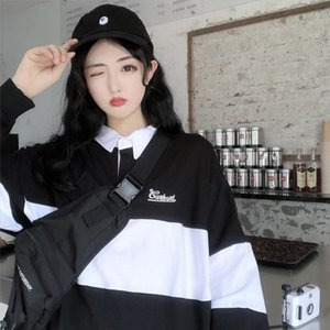 2020 new women black casual polo neck sweatshirt for couples long sleeve aesthetic pullover fashion feminine top harajuku 17