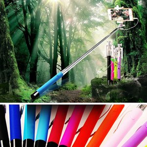 Mini Foldable Tripod Monopod Wired Selfie Stick For iPhone Samsung Handheld Extendable Monopod Cable Built-in shutter for Android phone