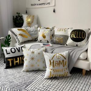 Black Grey Geometric Bronzing Pillow Cover Home Decor Marble Golden Velvet Cushion Cover Decorative Sofa Pillowcase 45X45CM