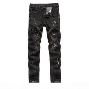 2017 New men's jeans Pomo denim fabric Beggar Hole trousers Zipper decoration pants fashion men jeans