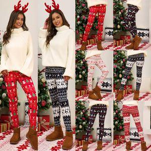 Plus Size Leggings Christmas Pant Xmas Tree Snowflake Elk Printing Pants Skinny Tights Legging Donne Bootcut Pantaloni Pantaloni GWB3162