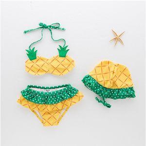الجملة 2021 الصيف الجديدة الفتيات 3 قطعة المايوه الأناناس بيكيني حار الربيع الصغيرة الطازجة ملابس السباحة E1150