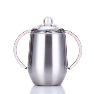 14oz Sippy Cups 스테인레스 스틸 와인 잔 더블 핸들 텀블러 달걀 컵 손잡이와 뚜껑 재고 있음