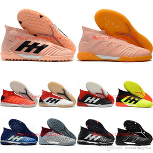 2019 mens high ankle soccer shoes Predator 19+ TF IC indoor soccer cleats leather Predator tango turf football boots Tacos de futbol
