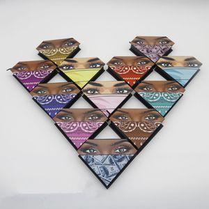 3D mink cils Boîtes de paquet de cils Faux cils Emballage cils vides boîtes de cils créatifs en forme de diamant en forme de boîte emballage