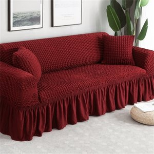 Waterproof Solid Color Elastic Sofa Cover For Living Room Printed Plaid Stretch Sectional Slipcovers Sofa Couch Cover L shape 201222