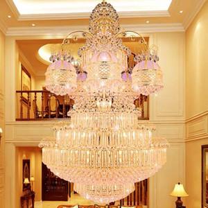 American Big Golden Crystal Chandelier LED Light European Luxurious K9 Crystal Chandeliers Lights Fixture Indoor Lighting Dia100cm 120cm