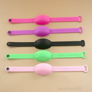 8 Colors Wristband Silicone Sanitizer Dispenser Bracelet Wearable Disinfect Wrist Hand With 10ml Empty Bottle OWB2288