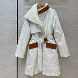 Luxury Patchwork Leather Parkas Down Jacket Winter Warm Long Women Padded Coats New Elegant Coats With Belts