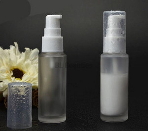 30ML 50ML Clear Frosted Matte Glass Lotion Bottle With White Lotion Pump Cosmetic Empty Refillable Travel Bottle 300pcs lot