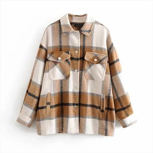 Fashionable New Turn down Collar Plaid Jacket Women Checkered Pockets Full Sleeve Oversize Coat Female Outwear Warm Causal Tops