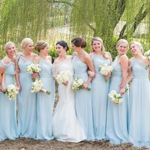 Cheap Simple Sexy A Line Bridesmaid Dresses One Shoulder Floor Length Party Dresses Wedding Guest Dress Evening Wear Maid of Honor Gowns