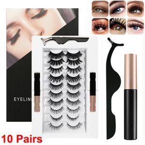Magnetic Eyelashes with Magnetic Eyeliner and Tweezers Kit 10 Pairs Reusable False Lashes & Liquid Eyeliner Eye Makeup Tool No Glue Needed