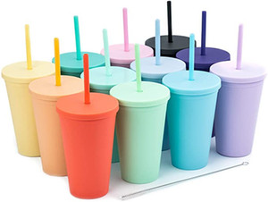 6 цветов 16 унций акриловая стакан пластиковой матовой двойной стены вакуумный многоразовый чашкой практические рождественские подарки