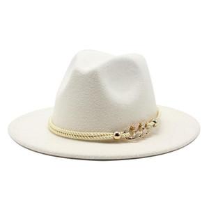 Black white Wide Brim Simple Top Hat Panama Solid Felt Fedoras Hat for Men Women artificial wool Blend Jazz Cap