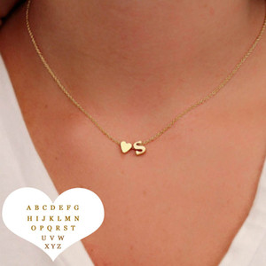 Fashion Heart 26 Intial Letter Alphabet Pendant Necklace for Women Gold Silver A-Z Alphabet Choker Necklace Girls Fashion jewelry Gift