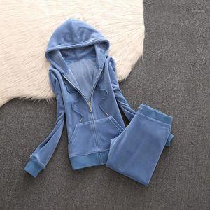 Marca de la mujer Tela de terciopelo Tela Traje de pantalones Trajes de Velor Traje Mujer Traje Sudaderas y Pantalones Negro1