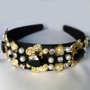 Fashion Crown Black velvet Gold Flower Bridal Tiara Luxury champagne black big Gem Headband Hair jewelry Accessories wholesale