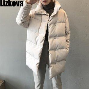 Lizkova hiver Nouveau blanc surdimensionné Parkas Femmes Casual Lapel simple boutonnage matelassée Manteaux TP120 201119