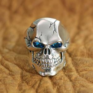 LINSION 925 Sterlingsilber CZ-Augen-Schädel-Ring Herren Biker-Rock-Punk Ring TA131 US-Größe 7 ~ 15 201118
