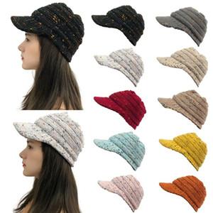 1 STÜCKE Erwachsene Frauen Mode Multicolor Nähte Outdoor Plüsch Hüte Häkeln Strick Beanie Cap Halte Warme Kappe Hüte im Winter