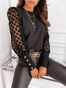 Fashion V Neck Women Blouse Ladies Mesh Puff Sleeve Dot Black Tops Pullover Blouse Casual Women Clothing