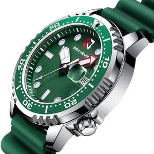 벤 네비스 새로운 패션 비즈니스 정통 스포츠 석영 운동 캘린더 방수 대형 다이얼 실리콘 스트랩 남성 시계
