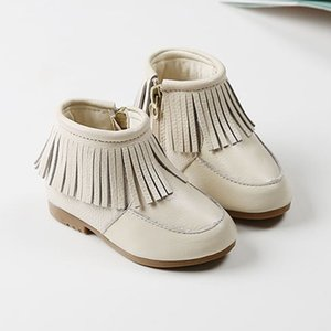 2020 New Autumn Baby Girls Fringe Boots Soft Genuine Leather Waterproof Fashion Solid Color Moccasins Princess Shoes Moc Boots Y1117