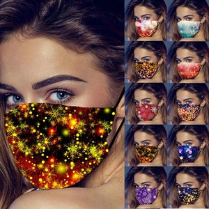 New Year Mask New Year Snowflake 3D Printing Christmas Face Masks Dust-proof Breathable Washable Designer Mask Adult and Kids OWB3378