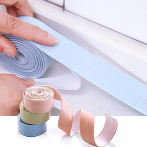 Bathroom Stickers Shower Sink Bath Sealing Strip Tape PVC Self adhesive White Waterproof Wall Sticker for Bathroom Kitchen Free DHL