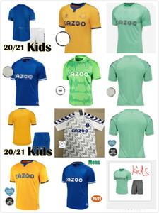 2021 enfants Kit Les maillots de football caramels # 7 RICHARLISON 20 21 maillots de football bleu maison d'enfants # 10 garçons Sigurdsson uniformes de football
