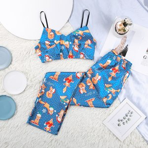 Hiloc Cartoon Print Satin Sleepwear Christmas Clothes Women Langerie Sexy Pajamas Pattern V-neck Two Piece Set Top and Pants