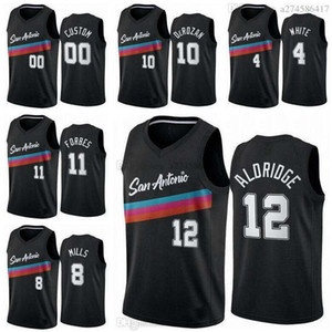 Nouvelle saison Men San City Antonio Team Demar 10 Jersey Derozan Lamarcus 12 Aldridge 2020/21 Swingman Basketball Jersey Icon Edition