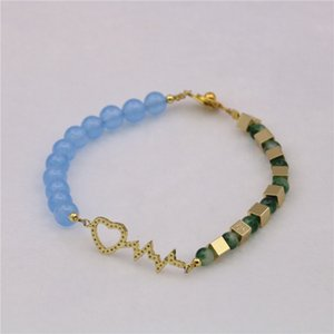 Self Made Creative Design Blue Jade Sea Treasure Blue Not Fade Girl Bracelet Hand String Birthday Gift C-19