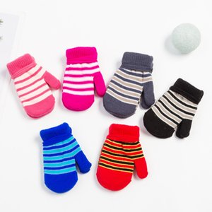 Kids Magic Stretch Mittens Toddler Solid Color Stripe Winter Warm Knit Gloves for Boys Girls Child Sport Gloves Party Favor Kimter-L971FA