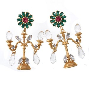 Baroque Crystal Chandelier Fashion Vintage Earrings Exaggerated Ear Ornaments Retro Long Drop Earring