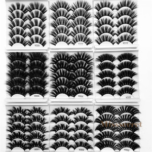 Neue 5 Paare Dicke Fake 25mm 3D Mink Wimpern Fehler Wimpern Criss-Cross Dicke lange Faux Mink Wimpern Erweiterung Handgemachte Augen Makeup Werkzeuge