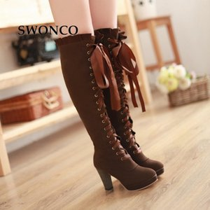SWONCO Women's High Boots Autumn Winter Sexy Lace Up Knee-high Boot Female Shoes Boots Women High Heels Leather Woman Boot 201116